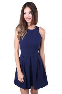 MGP Label Yuri Flare Dress in NAVY BLUE