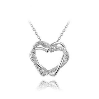 雙心纏繞愛心吊墜/Double hearts love heart pendants