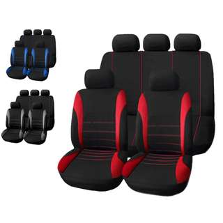 💯 T21620 Universal 9 Set Car Seat Covers Mesh Sponge Full Cover Set