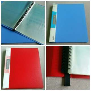 Refillable Red/Blue Clear Folder