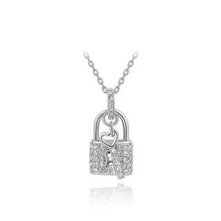白金世紀鑰匙鎖項鏈/Platinum century key lock necklace