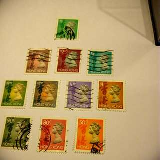 香港絕版女皇頭郵票(已用已浸)不同面值