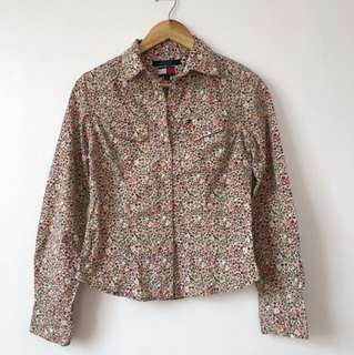 Floral Office Polo Blouse