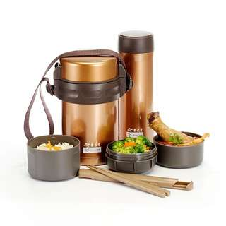 Insulated Thermo Gold Lunch Box & Tumbler Set