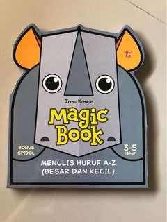 Magic book utk belajar menulis huruf besar dan kecil, bisa di hapus