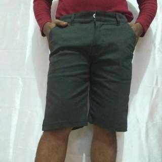 Celana pendek semi jeans warna abu tua bagus dan tebal