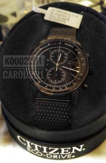 CITIZEN chronograph eco drive watch 激新黑網鋼帶 光動能 錶