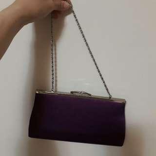 夢幻紫側背包/ 手拿包/皮夾包/ 鍊子可收/ 派對包