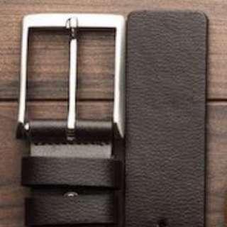 Rectangular Buckle Full Grain Leather Belt 36 Inches