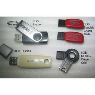 8GB thumbdrive, flashdrive. imation, Toshiba, Sandisk