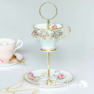Vintage teacup trinket and jewelry stand / jewelry organiser, pretty duck egg blue, chintz and country floral