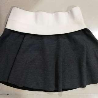 ZARA gray banded skater skirt