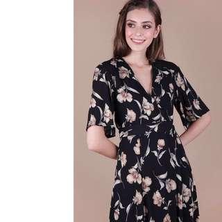Palmizana Wrap Front Maxi Dress (Balck Floral)