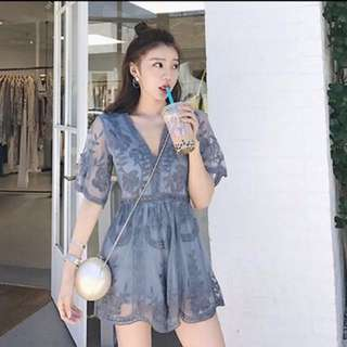 (Blue) Fairy Lace Embroidery Romper