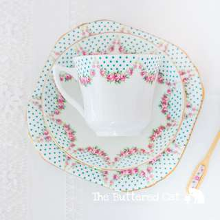 Very pretty antique English bone china tea trio, pink rose swags, little turquoise polka dots