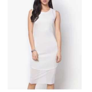 BN ZALORA Collection White Mesh Maxi Dress