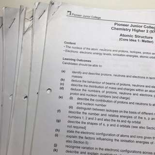 PJC H2 Chemistry Lecture Notes