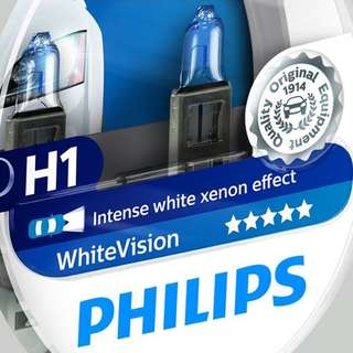 Philips WhiteVision 4300K Halogen Bulbs Xenon Effect (H1 Twin Pack)