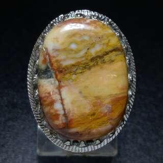 Cincin Batu Akik Pancawarna Pemandangan Alam Pictorial Jasper Multicolour