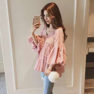 (S~2XL) 2018 spring loose chic lantern sleeve sleeve sleeve baby shirt short sleeve breathable chiffon shirt red shirt female summer