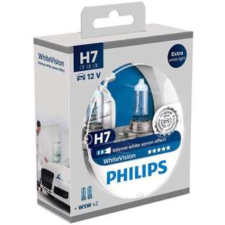 Philips WhiteVision Xenon effect H7 Headlight Bulb, Twin Pack