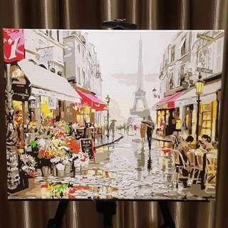 Paris street canvas acrylic painting