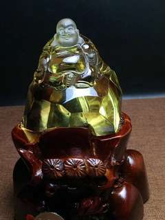Natural yellow crystal maitreya.