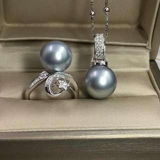 客訂✈✈✈感謝🙏🏻信任 謝謝你❤ 12到13M大溪地氣質灰18k鑽石套裝,實物珠光非常漂亮 燈泡一樣