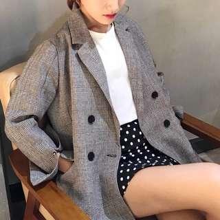 Retro Korean chic Classic Plaid Cufflinks Split suit Long sleeve Jacket