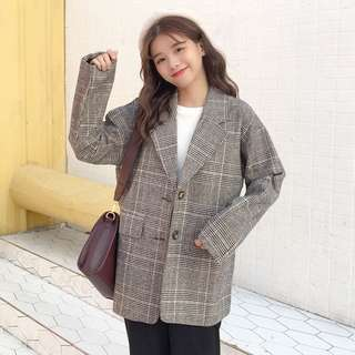 Korean suit jacket lady casual retro hit color lattice long sleeve