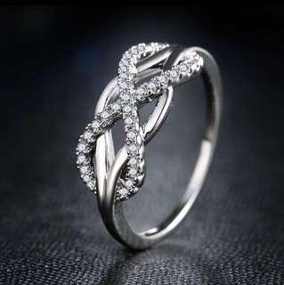 Swedish Designer Infinity micro- inlay Crystal Ring