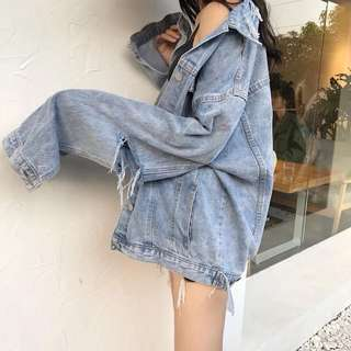2018 retro loose BF personality hole denim jacket long-sleeved shirt