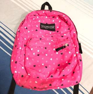 Jansport original superbreak backpack- hot pink with hearts design