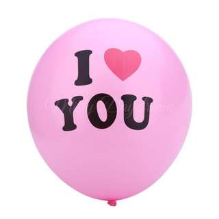 """""""I Love You"""" Round Balloons  (Pink)"""