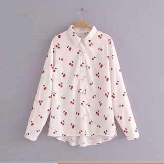 🔥Cherry print long sleeve lapel blouse