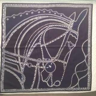 全新 愛馬仕 享負其名 手工做 珠片絲巾 藍色 限量版