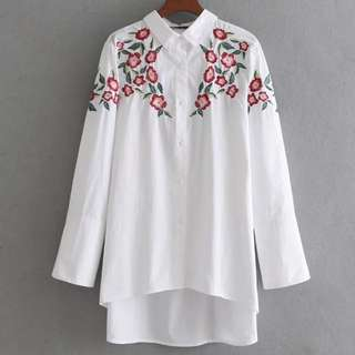 🔥Loose slim lady long sleeve lapel flower embroidery blouse