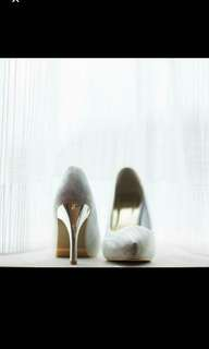 Wedding silver high heel shoes