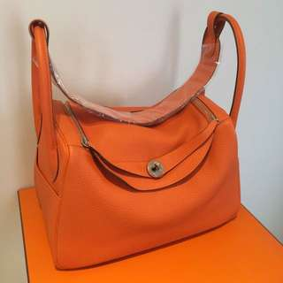 New Hermes Lindy 34 Clemence Orange Shoulder Hand Bag