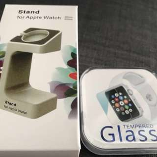 Apple iWatch Stand & Tempered Glass 42mm set