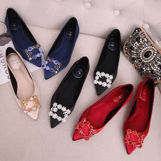 (31~45)European station pointed square buckle flats satin flat rhinestone shoes