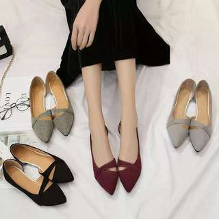 (31~44)2018 spring and summer new Korean pointed side empty single soft sole women's shoes