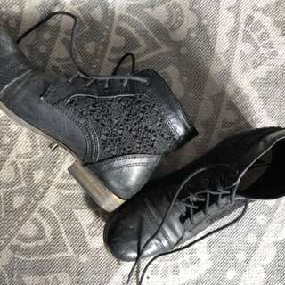 Black Embroidered Boots