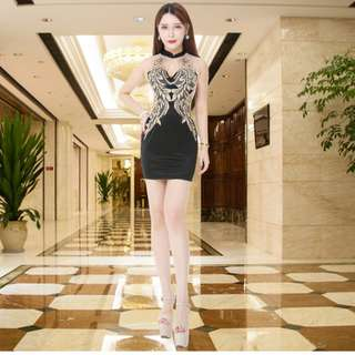 Sexy elegant short ball party nightclub embroidered, semi-mesh sheen dress, size:  Small, colour:  Black