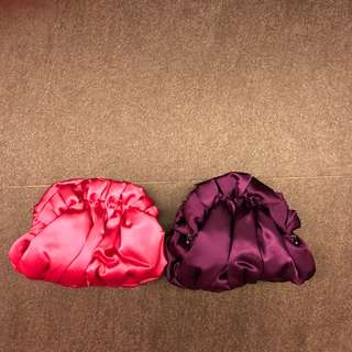 Suzy Smith London Clutches - Pink & Purple, satin material