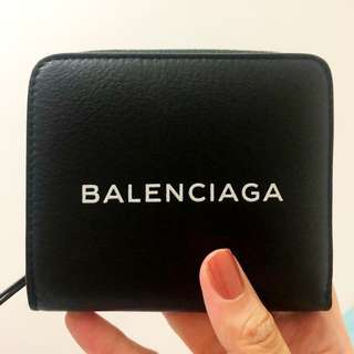 Balenciaga Shopping Zip-Around Leather Wallet