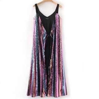 🔥European stripes glitter Halter Dress