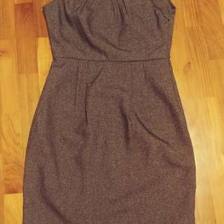 Formal office dress sleeveless black with front pleats
