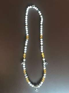 Amulet Necklace (8mm Beads & Micron Gold Pixiu) 3 + 1 hooks (60cm Length)