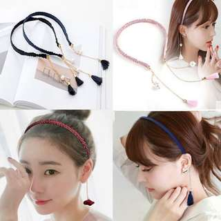 4 for $10! Ulzaang Dangling Tassle Floral Rose Hairband